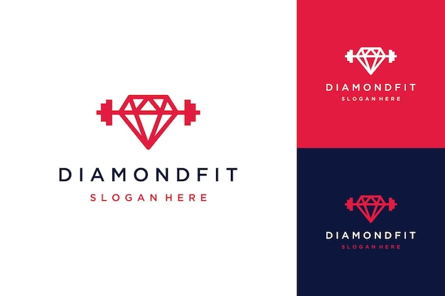 Logo designs fitness or diamond with barbell