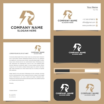Logo dog electric r  logo and business card