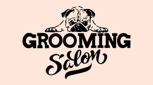 Logo for dog hair salon dog styling and grooming shop store for pets vector illustration isolated