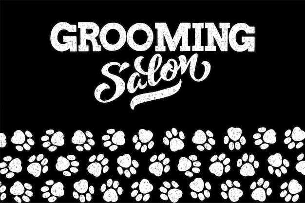 Logo for dog hair salon dog styling and grooming shop store for pets vector illustration