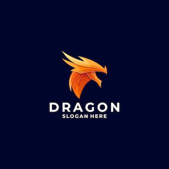 Логотип голова дракона градиент красочный