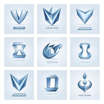 ロゴ要素と抽象的なウェブアイコン