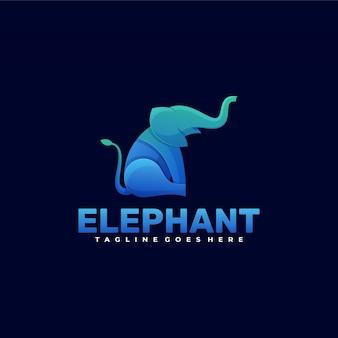Логотип слон градиент красочный стиль.