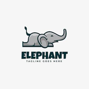 Логотип слон талисман мультяшном стиле.