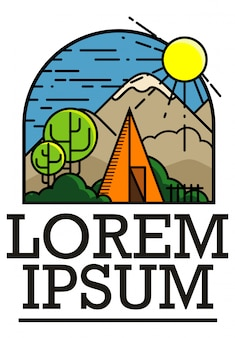 Logo, emblem adventure for traveling club, line art