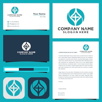 Logo faith hand and business card premium