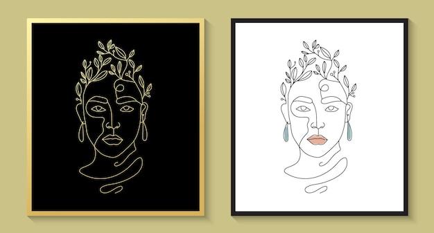 Логотип женственная красота женское лицо минималистичный цветочный штриховой рисунок рисованный портрет