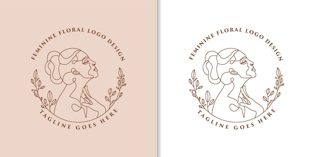 Logo feminine beauty woman face minimalist line art hand drawn portrait