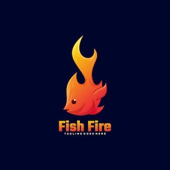 ロゴの魚の火のグラデーションスタイル。