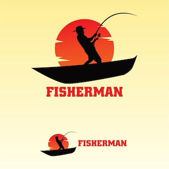 Logo fisherman flat template