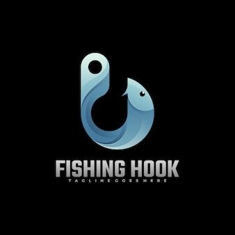Логотип рыболовный крючок градиент красочный стиль.