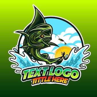 Логотип рыбалка махи махи рыба прыгает в волну воды