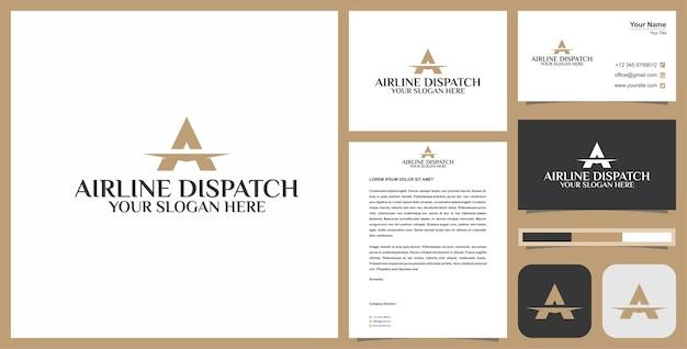 Logo a flight logo and business card premium vector