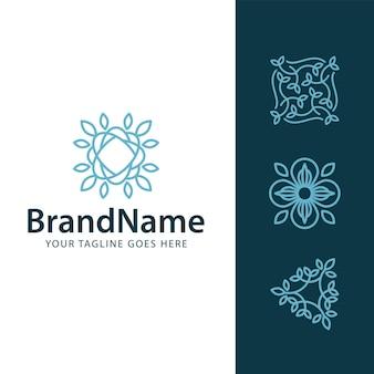 Logo floral leaf concept template
