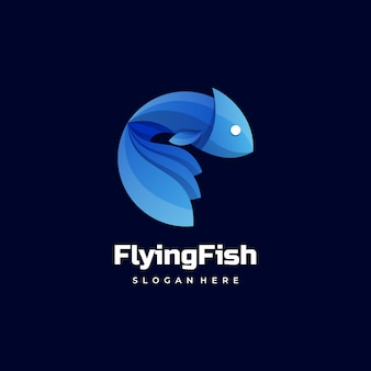 Logo  flying fish gradient colorful style.