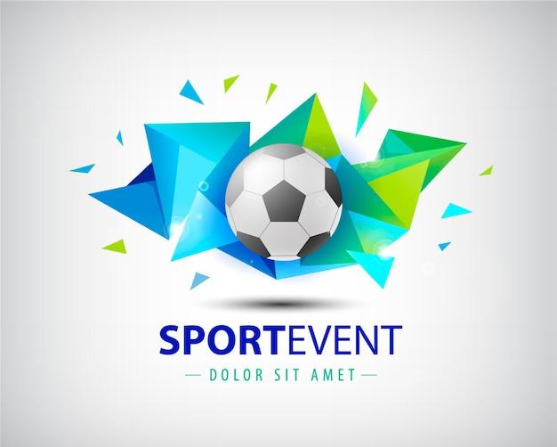 ロゴサッカー、チャンピオンシップサッカー。孤立した。カラフルなファセット折り紙の抽象的な背景にサッカーボール。