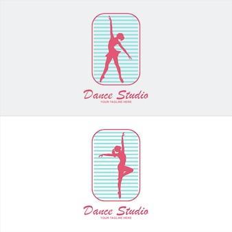 バレエやダンススタジオのロゴ。白い背景で隔離のダンスの女の子のシルエット。ベクトルイラスト