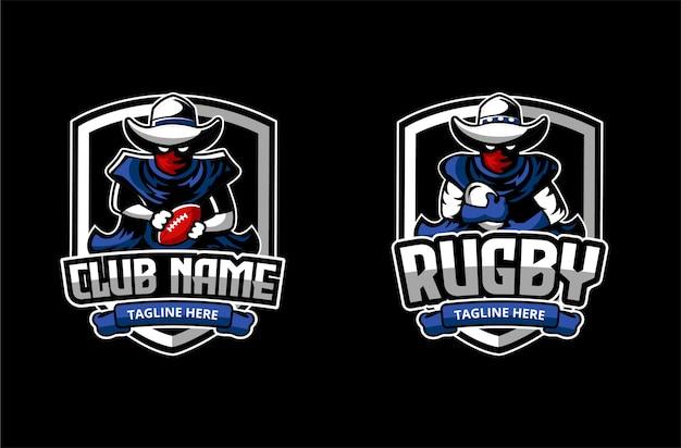 カウボーイのキャラクターのマスコットとアメリカンフットボールとラビークラブまたはアカデミーのロゴ