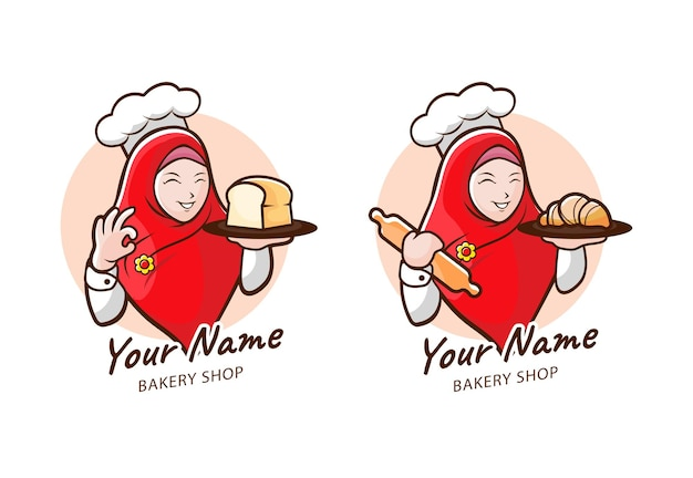 마스코트로 히잡 소녀가 있는 빵집 로고