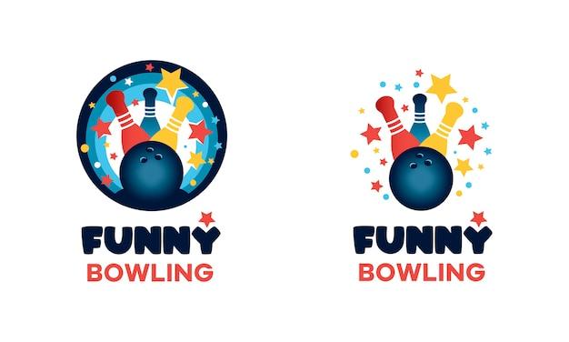 ボウリングのロゴ。楽しい丸い色とりどりのサイン。ボウリングのボールとスキットルズの画像