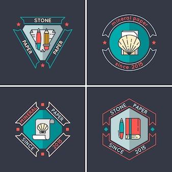 石紙、廃大理石からの紙の生産のためのビジネスのロゴ。モダンな線形スタイルのロゴ。