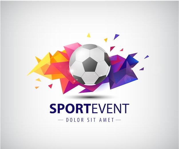 サッカーチームやトーナメント、チャンピオンシップサッカーのロゴ。孤立した。カラフルなファセット折り紙の抽象的な背景にサッカーボール。