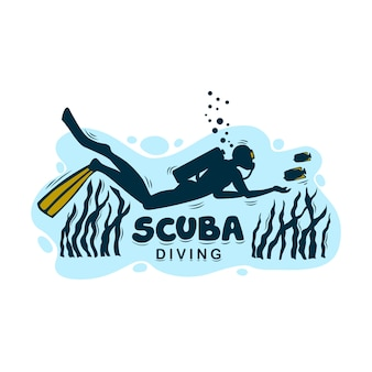 격리 된 배경에 스쿠버 다이빙을위한 로고. 다이빙 센터의 로고 또는 아이콘.