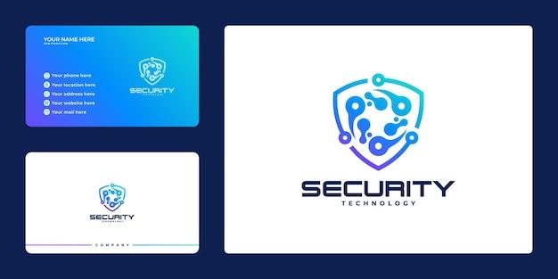 Логотип для безопасности со щитом и визитной карточкой, концепция защитного щита, интернет-безопасность,