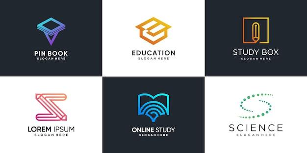 Логотип для учебы с концепцией креативного элемента premium vector часть 1