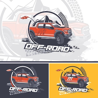 オフロードドライバーのイラストのチームのロゴ Premiumベクター