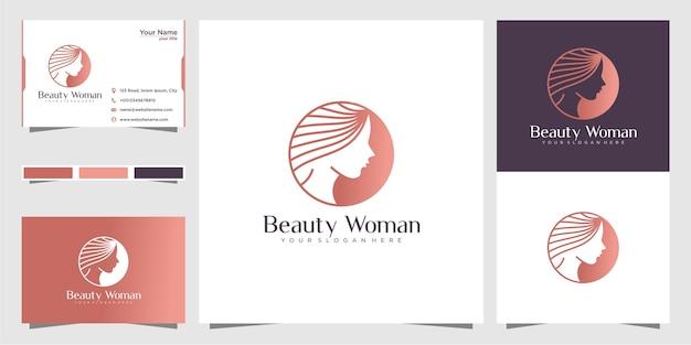 美容クリエイティブスタイルと名刺を持つ女性のためのロゴ