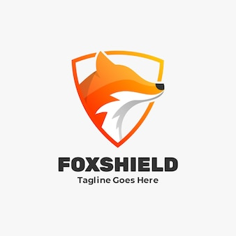 Logo  fox shield gradient colorful style.