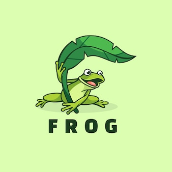 Logo frog простой стиль талисмана.