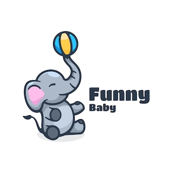 Logo  funny baby simple mascot style.