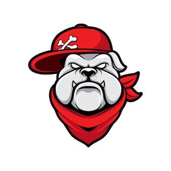 帽子マスコット漫画とロゴのギャングの犬ブルドッグ