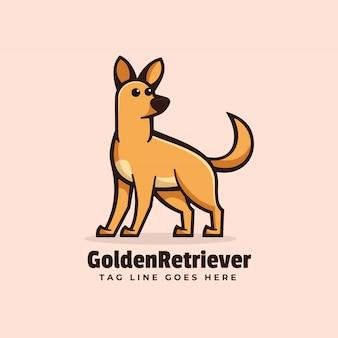 Логотип золотой ретривер простой стиль талисмана.