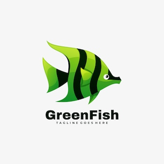 Logo  green fish gradient colorful style.