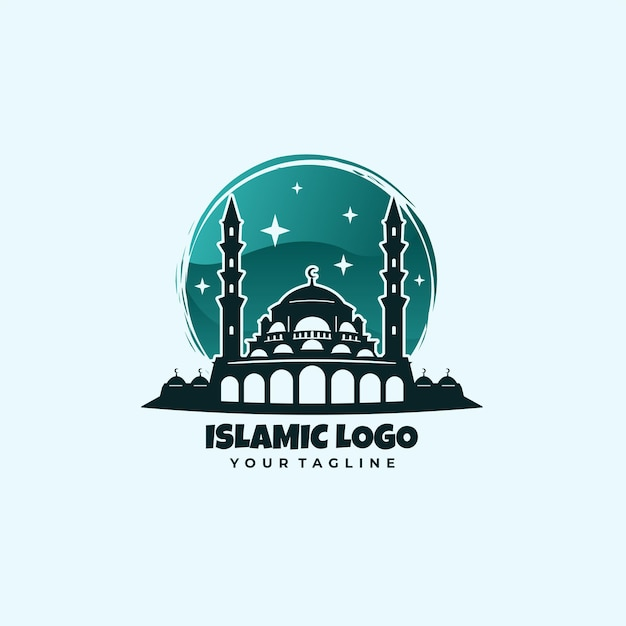 Логотип зеленой исламской мечети
