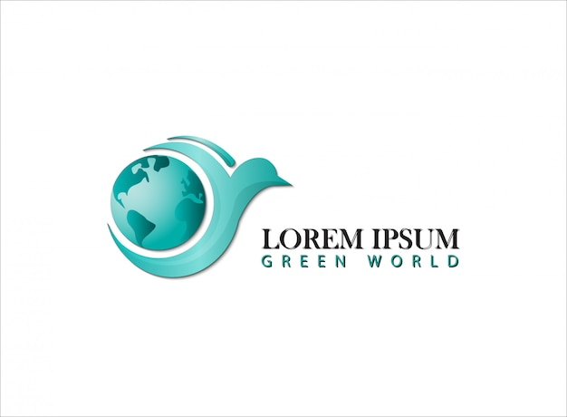 Logo green world with bird
