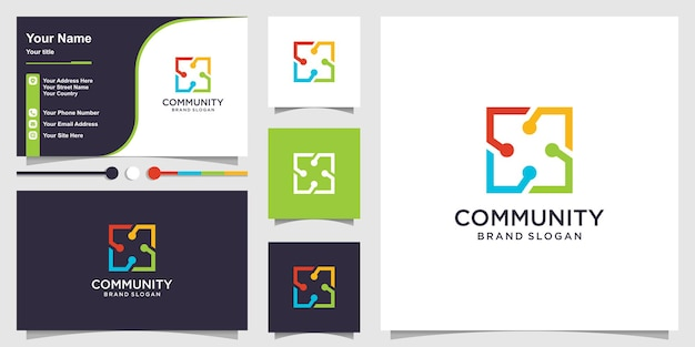 Logo group for community creative square concept and business card design premium vector