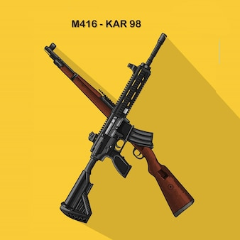 Logo a gun karabiner 98k sniper rifle and m416 assault rifle