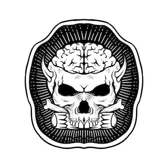 뼈 라인 아트 흑백으로 로고 손으로 그린 두개골 braind