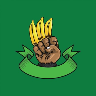 Logo hand of gorilla with banana