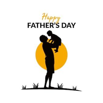 Логотип счастливый день отца силуэт