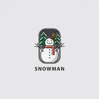 Logo happy snowman in white