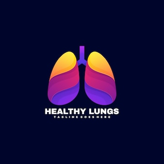 ロゴ健康な肺グラデーションカラフルなスタイル。