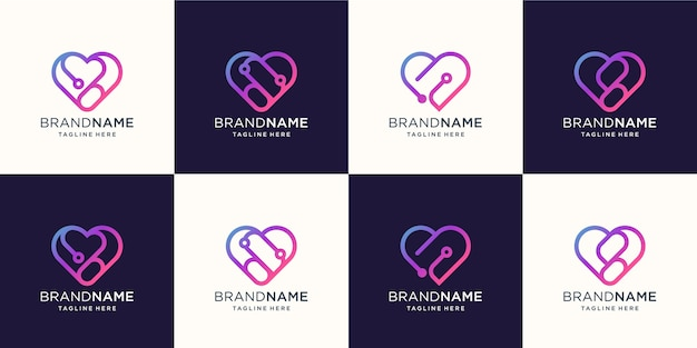 Logo heart line abstract with tech concept design