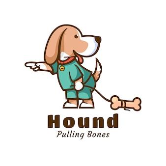 Logo hound симпатичный мультяшный стиль.