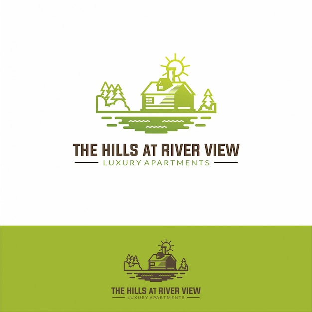 Logo house real estate at river simple modern