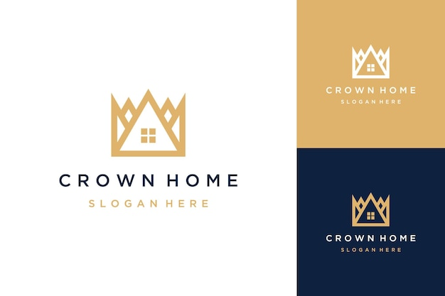 Logo housing design or crown with a house
